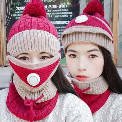 骑车帽子女冬天毛线帽加绒加厚防风防寒护耳围脖冬季保暖针织帽女【正品】