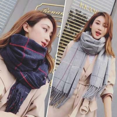 韩版秋冬季格子加长保暖围巾女双面百搭学生围脖仿羊绒两用大披肩【正品】
