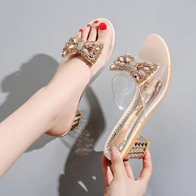 新款拖鞋女夏外穿百搭中粗跟性感透明水钻蝴蝶结中跟凉拖