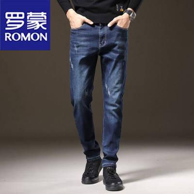 【品牌】罗蒙春夏透气牛仔裤男新款百搭韩版下装潮流修身长裤时尚帅气男裤