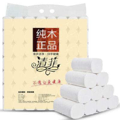 【耘凡兔004】清菲9斤卫生纸纸巾卷纸厕纸家用手纸厕所纸无芯木浆草纸56卷