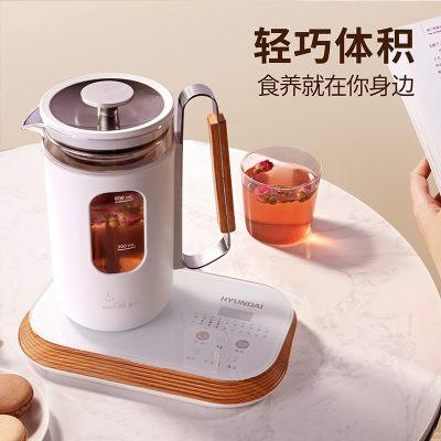 韩国现代(HYUNDAI)养生壶全自动多功能高硼硅电水壶花茶壶带滤网QC-YS0613 木纹色