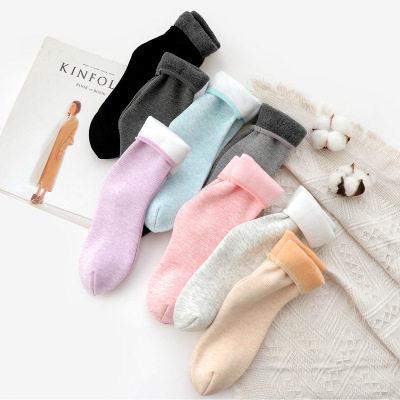 【耘凡兔191】4双棉竖条加绒加厚中筒雪地短袜女士地板袜冬季保暖居家袜子(4双)