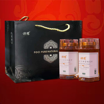 佛慈纯正天然药蜜农家自产土蜂蜜取蜂巢蜜源礼盒装高档低价*2瓶