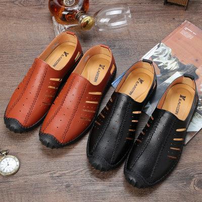 迅威猛2020夏季新款男士凉鞋镂空透气洞洞真皮软底商务休闲流行鞋