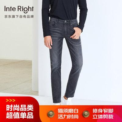 INTERIGHT牛仔裤男 轻商务合体修身 超弹牛仔裤
