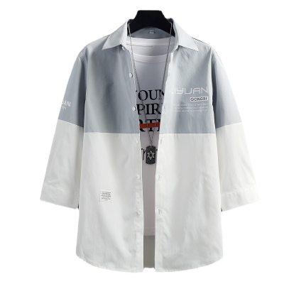 木林森衬衣男装2021新款夏季衣服港风外套潮流开衫薄款短袖衬衫男