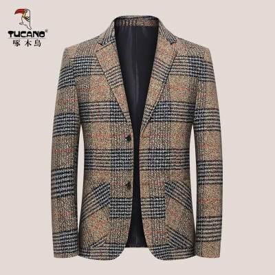 【品牌】啄木鸟春秋新款格子西装外套男士加厚西服中青年商务休闲单西上衣