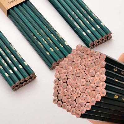 【品牌】得力hb2b2h铅笔原木无毒铅笔学生写字考试绘图铅笔描绘六角杆铅笔