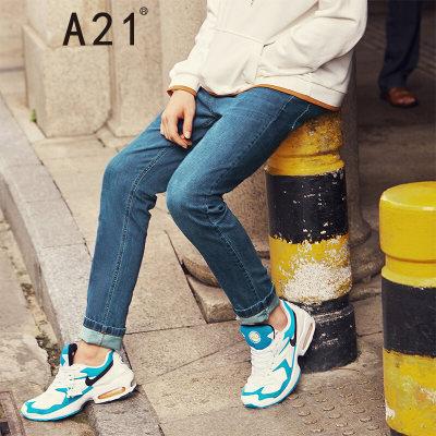 以纯线上品牌A21 莱卡牛仔裤休闲中腰弹力修身牛仔裤男