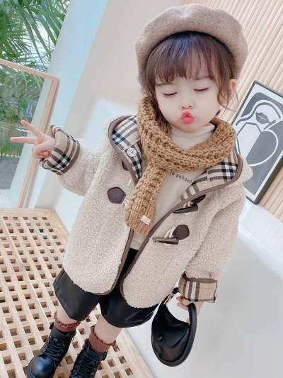 女童韩版秋冬装羊羔绒上衣儿童洋气中长款大衣女宝宝皮毛一体外套【优品】