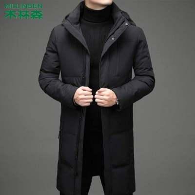 木林森2020新款冬装外套男超长款脱领加厚白鸭绒男式羽绒服商务休【正品】