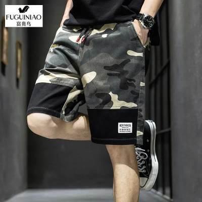 【品牌】富贵鸟正品男士五分裤夏季薄款短裤外穿中青年潮流时尚迷彩休闲裤